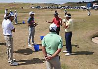Gran cantidad de jugadores espa&ntilde;oles en el campo de pr&aacute;cticas. Rafa Cabrera-Bello (ESP) directs a meeting on the practice ground during the ASI Scottish Open 2018, at Gullane, East Lothian, Scotland.  11/07/2018. Picture: David Lloyd | Golffile.<br /> <br /> Images must display mandatory copyright credit - (Copyright: David Lloyd | Golffile).