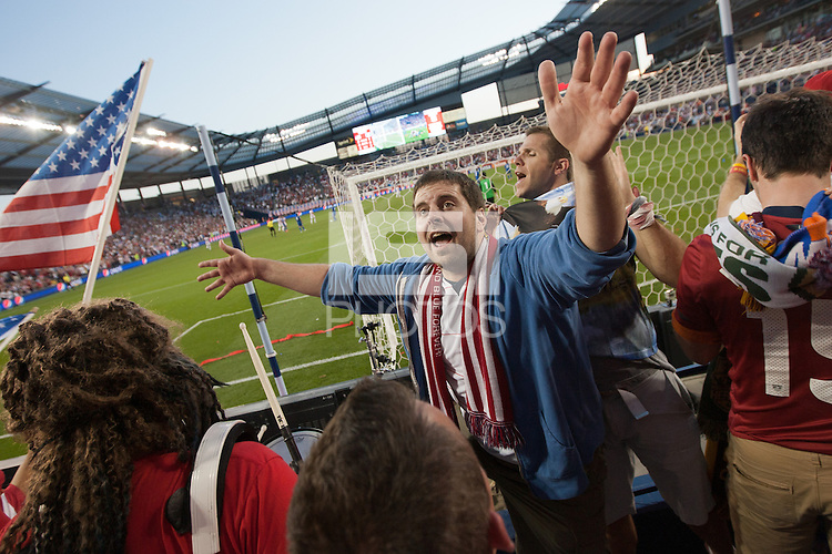 USA Fans lead cheers of the American fans while the United States Men's National Team played Guatemala at Livestrong Sporting Park in Kansas City, Kansas in a World Cup Qualifier on Tue. Oct. 16, 2012.