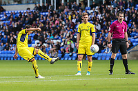 Ricardo Ferreira da Silva of Oxford United takes a free kick during the Sky Bet League 1 match between Peterborough and Oxford United at the ABAX Stadium, London Road, Peterborough, England on 30 September 2017. Photo by David Horn.