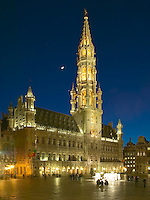 Town Hall and Grand Place in the heart of Brussels, Belgium as seen just after sunset.