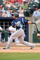Corpus Christi Hooks catcher Rene Garcia (15) at bat during a game against the NW Arkansas Naturals on May 26, 2014 at Arvest Ballpark in Springdale, Arkansas.  NW Arkansas defeated Corpus Christi 5-3.  (Mike Janes/Four Seam Images)