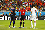 (L-R) Bruno Martins Indi (NED), Nicola Rizzoli (Referee), Diego Costa (ESP), JUN 13, 2014 - Football / Soccer : FIFA World Cup Brasil<br /> match between Spain and Netherlands at the Arena Fonte Nova in Salvador de Bahia, Brasil. (Photo by AFLO) [3604]