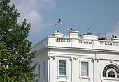 At 3:44 pm EDT on Monday, August 27, 2018, the American Flag is at half staff over the North Portico of the White House in Washington, DC . There has been some controversy if this is showing proper respect for the last United States Senator John McCain (Republican of Arizona).<br /> Credit: Ron Sachs / CNP