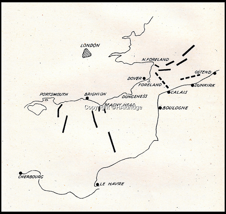 BNPS.co.uk (01202 558833)<br /> Pic: HAldridge/BNPS<br /> <br /> Chilling - A map showing the main invasion sectors along the south east coast of Britain.<br /> <br /> A top secret post war analysis by British Naval intelligence that offers a detailed and chilling account of the German equivalent of the D-Day landings has been uncovered.<br /> <br /> The volume was compiled by the British based on documents recovered in German naval archives after the war that outlined the Nazi invasion of the UK.<br /> <br /> And the blueprint for Operation Sealion that was to have taken place in September 1940 is remarkably similar to Operation Overlord - the Allied invasion of Normandy - four years later.<br /> <br /> Adolf Hitler identified five different sectors of the English coast to attack with 600,000 men ; from Ramsgate in Kent in the east to Selsey Bill in West Sussex in the west.