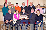 Batt Brosnan, Kilcummin, pictured with Joe Scully, Maureen O'Sullivan, Fr Micheal O'Dochartaigh, Nora mOriarty, Mary Kissane, Timmy Moriarty, Brian Noonan, Joan Kissane, Jerry Moriarty, Fr Paddy O'Donoghue and Cathy Scully as he celebrated his 96th birthday in the Beaufort Community centre on Monday night...