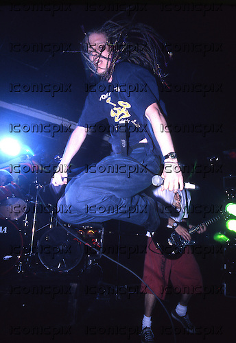 THE OFFSPRING - vocalist Dexter Holland - performing live on the Smash Tour at the Academy in Manchester UK - 20 April 1995.  Photo credit: Tony Woolliscroft/IconicPix