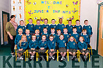 Class teacher Helena Dillane with junior infants on their first day of school in Holy Family NS, Rathmore last Monday.