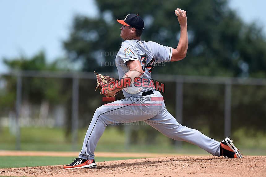 GCL Marlins starting pitcher Tyler Kolek (34) delivers a pitch during a game against the GCL Nationals on June 28, 2014 at the Carl Barger Training Complex in Viera, Florida.  GCL Nationals defeated the GCL Marlins 5-0.  (Mike Janes/Four Seam Images)