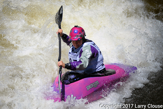 June 9, 2017 - Vail, Colorado, U.S. - Current World Champion, Emily Jackson, in the Freestyle Kayak competition during the GoPro Mountain Games, Vail, Colorado.  Adventure athletes from around the world meet in Vail, Colorado, June 8-11, for America's largest celebration of mountain sports, music, and lifestyle.