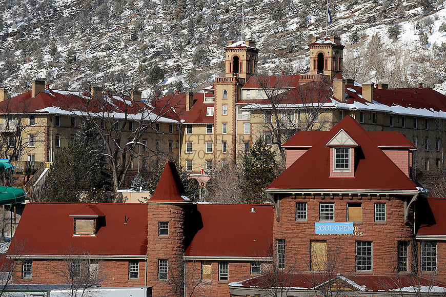 View of the Hot Springs Pool and Lodge with the Holtel Colorado behind it in Glenwood Springs, CO. Michael Brands for The New York Times.