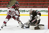 Seb Lloyd (Harvard - 15), Tim Ernst (Brown - 33) - The Harvard University Crimson defeated the Brown University Bears 4-3 to sweep their first round match up in the ECAC playoffs on Saturday, March 7, 2015, at Bright-Landry Hockey Center in Cambridge, Massachusetts.
