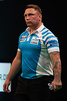 27th October 2019, Gottingen, Lower Saxony, Germany:  PDC European Championships; Final round; Gerwyn Price from England gestures in the final against Cross.