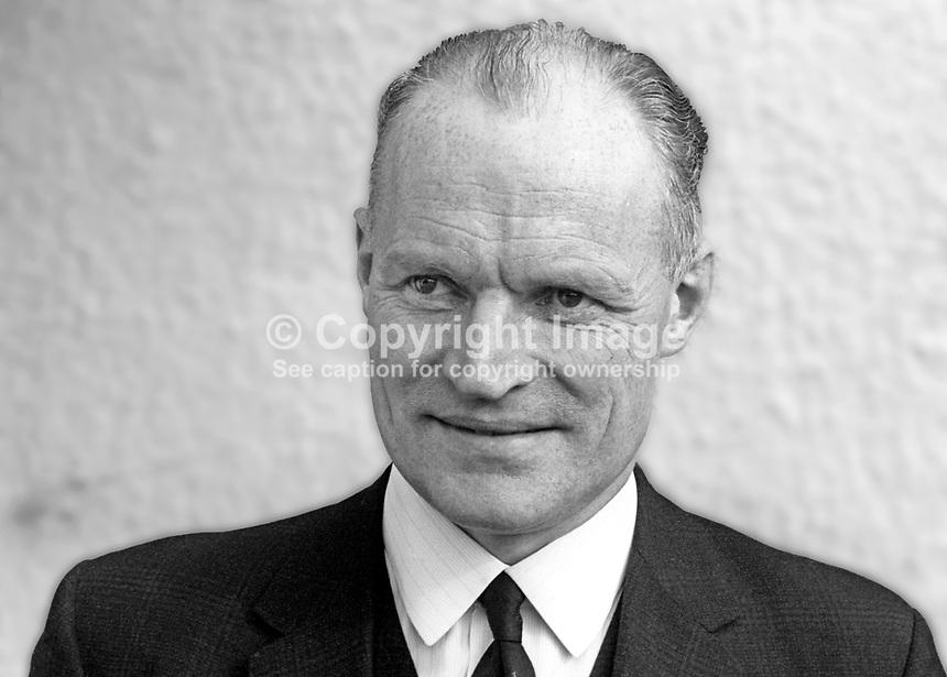 Ewart Bell, Irish rugby selector, senior civil servant, N Ireland, later knighted. March 1969. 196903000136<br /> <br /> <br /> Copyright Image from<br /> Victor Patterson<br /> 54 Dorchester Park<br /> Belfast, N Ireland, UK, <br /> BT9 6RJ<br /> <br /> t1: +44 28 90661296<br /> t2: +44 28 90022446<br /> m: +44 7802 353836<br /> e1: victorpatterson@me.com<br /> e2: victorpatterson@gmail.com<br /> <br /> www.victorpatterson.com