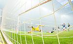 Solna 2014-08-13 Fotboll Allsvenskan AIK - Djurg&aring;rdens IF :  <br /> AIK:s m&aring;lvakt Patrik Carlgren sl&auml;pper in Djurg&aring;rdens kvittering till 1-1 efter en frispark av Djurg&aring;rdens Jesper Arvidsson <br /> (Foto: Kenta J&ouml;nsson) Nyckelord:  AIK Gnaget Friends Arena Allsvenskan Derby Djurg&aring;rden DIF depp besviken besvikelse sorg ledsen deppig nedst&auml;md uppgiven sad disappointment disappointed dejected jubel gl&auml;dje lycka glad happy remote remotekamera