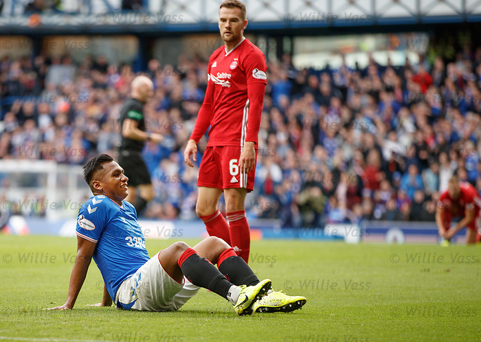 28.09.2018 Rangers v Aberdeen: Alfredo Morelos having a wry smile after winning a penalty