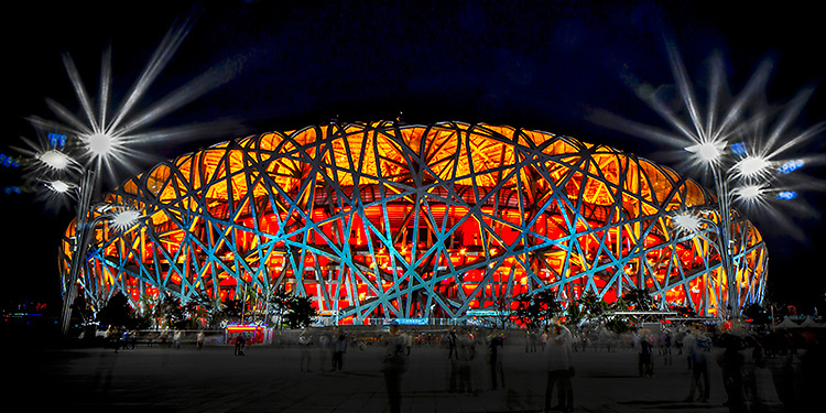 "Beijing National Stadium, also known as ""The Birds Nest""."