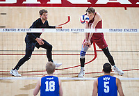 STANFORD, CA - March 2, 2019: Jordan Ewert, Kyle Dagostino at Maples Pavilion. The Stanford Cardinal defeated BYU 25-20, 25-20, 22-25, 25-21.