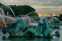 The Buckingham Fountain Sea Horses of which there are four around the fountain represent the four states that border Lake Michigan and The Field Museum is seen in the background, Chicago, Illinois