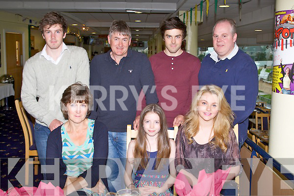 TRACK TIME: Having a great time at the Kingdom Greyhound Stadium Night at the Dogs on Friday seated l-r: Mary and Shona Judge and Lily Powell. Back l-r: Ryan, Bob and Conor Jodge and Mark Heaney.