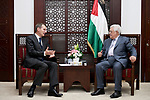 Palestinian President Mahmoud Abbas meets with director of the Foreign Intelligence Service of the Russian Federation (SVR) Sergei Naryshkin, at his headquarters in the West Bank city of Ramallah on November 23, 2017. Photo by Osama Falah
