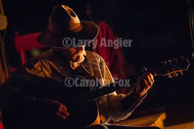 Ron and Marie Scofield at the Red Mule Ranch: Cowboy Campfire with Old West Trio (Steve Johnson, Leslie Ide, and Steve Ide ) & Mark Twain (McAvoy Layne, ghost of Mark Twain)..Cowboy songs and campfire performance