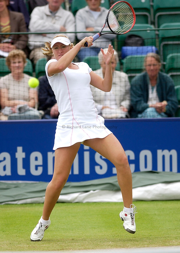 Photo: Daniel Hambury..The Surbiton Trophy. 02/06/2005..Elena Baltacha plays a fore hand.