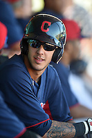 Cleveland Indians catcher Juan Gomes (15) during an Instructional League game against the Seattle Mariners on October 1, 2014 at Goodyear Training Complex in Goodyear, Arizona.  (Mike Janes/Four Seam Images)