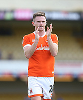 Blackpool's Oliver Turton applauds the Blackpool fans at the end of the game<br /> <br /> Photographer Rob Newell/CameraSport<br /> <br /> The EFL Sky Bet Championship - Southend United v Blackpool - Saturday 10th August 2019 - Roots Hall - Southend<br /> <br /> World Copyright © 2019 CameraSport. All rights reserved. 43 Linden Ave. Countesthorpe. Leicester. England. LE8 5PG - Tel: +44 (0) 116 277 4147 - admin@camerasport.com - www.camerasport.com