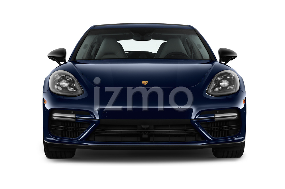Car photography straight front view of a 2017 Porsche Panamera Turbo 5 Door Hatchback Front View