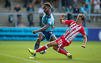 Sean McConville of Accrington Stanley tackles Anthony Stewart of Wycombe Wanderers during the Sky Bet League 2 match between Wycombe Wanderers and Accrington Stanley at Adams Park, High Wycombe, England on 16 August 2016. Photo by Andy Rowland.