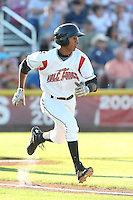 Johneshwy Fargas #1 of the Salem-Keizer Volcanoes runs to first base during a game against the Spokane Indians at Volcanoes Stadium on July 26, 2014 in Keizer, Oregon. Spokane defeated Salem Keizer, 4-1. (Larry Goren/Four Seam Images)