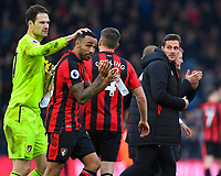 Asmir Begovic of AFC Bournemouth left pats goalscorer Callum Wilson of AFC Bournemouth on the head at the final whistle during AFC Bournemouth vs Arsenal, Premier League Football at the Vitality Stadium on 14th January 2018