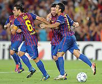 FUSSBALL   CHAMPIONS LEAGUE   SAISON 2011/2012   GRUPPE  H 13.09.2011 FC Barcelona - AC Mailand  Xavi Hernandez, Lionel Messi, Pedro Rodriguez  (v. li., Barca)