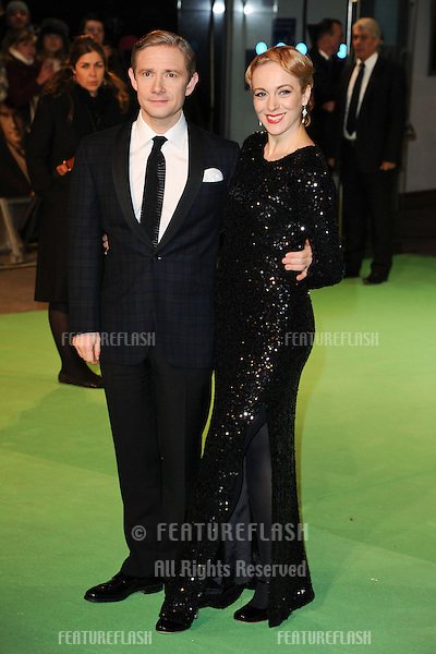 "Martin Freeman and wife arriving for the premiere of ""The Hobbit: An Unexpected Journey"" at the Odeon Leicester Square, London. 12/12/2012 Picture by: Steve Vas / Featureflash"
