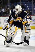 February 17th 2007:  Marty Biron (43) of the Buffalo Sabres takes warm-up shots before a game vs. the Boston Bruins at HSBC Arena in Buffalo, NY.  The Bruins defeated the Sabres 4-3 in a shootout.