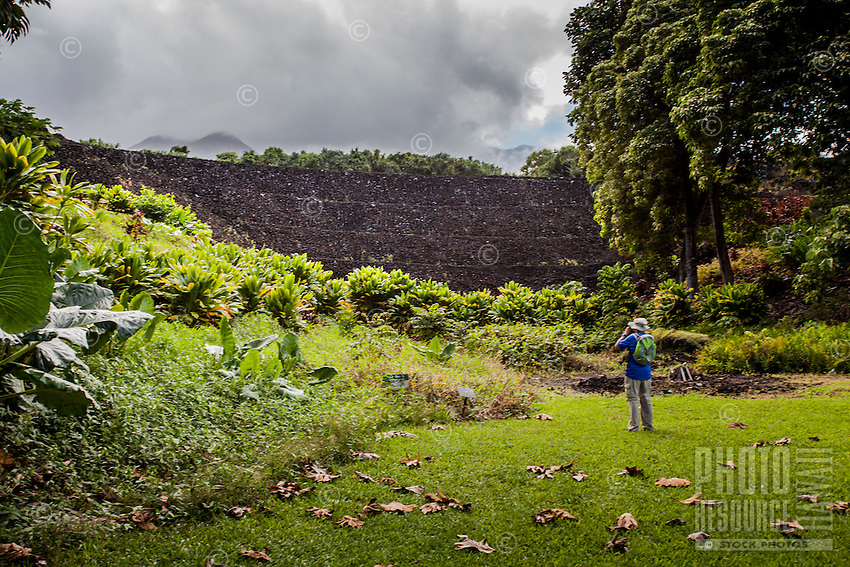 A visitor photographs the Pi'ilanihale Heiau at the Kahanu Garden near Hana, Maui.