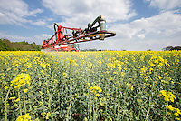 Spraying OSR in flower - Lincolnshire, April
