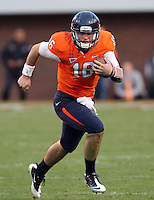 CHARLOTTESVILLE, VA- NOVEMBER 12: Quarterback Michael Rocco #16 of the Virginia Cavaliers runs with the ball during the game against the Virginia Cavaliers on November 28, 2011 at Scott Stadium in Charlottesville, Virginia. Virginia Tech defeated Virginia 38-0. (Photo by Andrew Shurtleff/Getty Images) *** Local Caption *** Michael Rocco