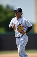 GCL Yankees West center fielder Antonio Cabello (25) jogs back to the dugout during a game against the GCL Yankees East on August 8, 2018 at Yankee Complex in Tampa, Florida.  GCL Yankees West defeated GCL Yankees East 8-4.  (Mike Janes/Four Seam Images)