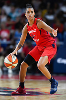 Washington, DC - July 13, 2019: Washington Mystics guard Natasha Cloud (9) directs the offense during game between Las Vegas Aces and Washington Mystics at the Entertainment & Sports Arena in Washington, DC. The Aces defeated the Mystics 81-85. (Photo by Phil Peters/Media Images International)