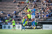 Seattle, WA - Sunday, April 17, 2016: Seattle Reign FC forward Beverly Yanez (17) goes up for a header against Sky Blue FC defender Christie Rampone (3) at Memorial Stadium. Sky Blue FC defeated the Seattle Reign FC 2-1during a National Women's Soccer League (NWSL) match at Memorial Stadium.