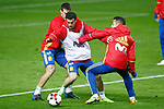 Spain's Cesar Azpilicueta, Pedro Rodriguez and Thiago Alcantara during training session. March 23,2017.(ALTERPHOTOS/Acero)