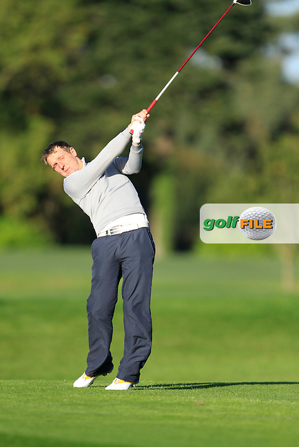 Gareth McCausland (Ballyliffin G.C) on the 13th tee during Round 1 of The Cassidy Golf 103rd Irish PGA Championship in Roganstown Golf Club on Thursday 10th October 2013.<br /> Picture:  Thos Caffrey / www.golffile.ie
