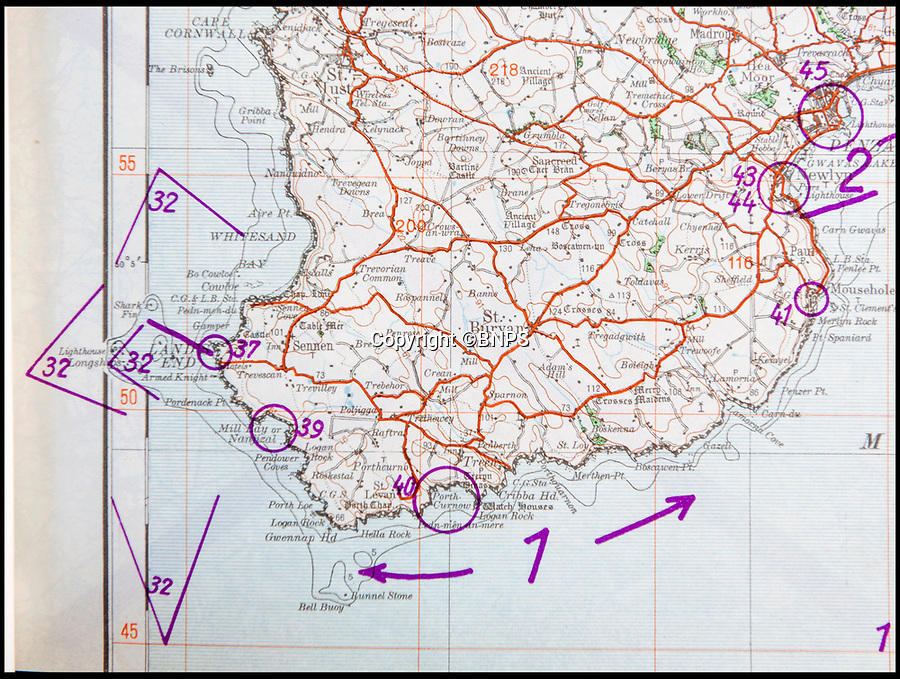 BNPS.co.uk (01202 558833)<br /> Pic: PhilYeomans/BNPS<br /> <br /> Lands End to Penzance map with annotations.<br /> <br /> Chilling - Hitlers 'How to' guide to the invasion of Britain.<br /> <br /> A remarkably detailed invasion plan pack of Britain has been unearthed to reveal how our genteel seaside resorts would have been in the front line had Hitler got his way in World War Two.<br /> <br /> The Operation Sea Lion documents, which were issued to German military headquarters' on August 1, 1940, contain numerous maps and photos of every town on the south coast.<br /> <br /> They provide a chilling reminder of how well prepared a German invading force would have been had the Luftwaffe not been rebuffed by The Few in the Battle of Britain.<br /> <br /> There is a large selection of black and white photos of seaside resorts and notable landmarks stretching all the way from Land's End in Cornwall to Broadstairs in Kent.<br /> <br /> The pack also features a map of Hastings, raising the possibility that a second battle could have been staged there, almost 900 years after the invading William The Conqueror triumphed in 1066.
