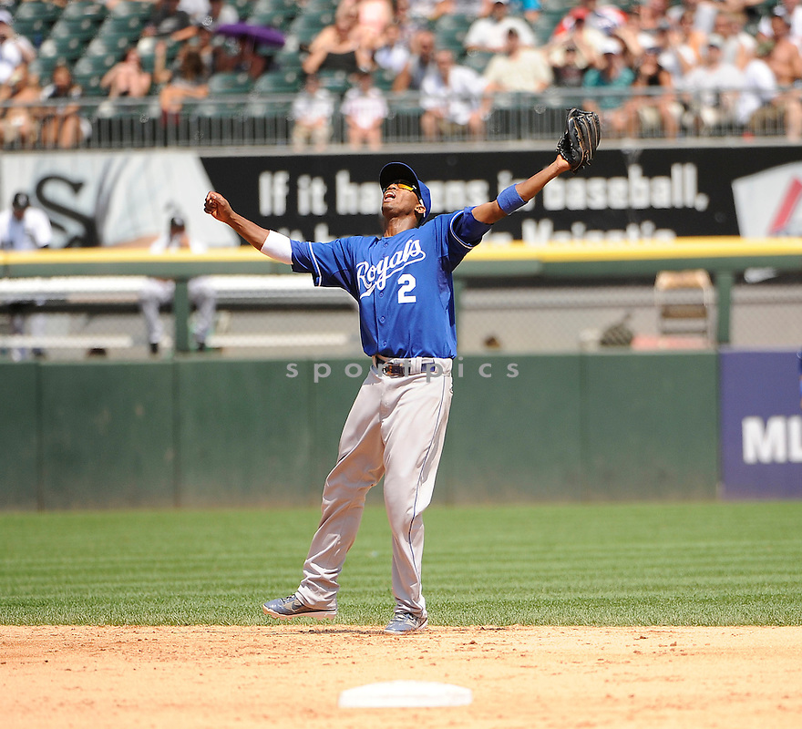 ALICIDES ESCOBAR,  of the Kansas  City Royals  in action  during the Royals  game against the Chicago White Sox.  The Kansas  City Royals beat the White Sox 4-1 in Chicago, Illinois on July 6, 2011..David Durochik.