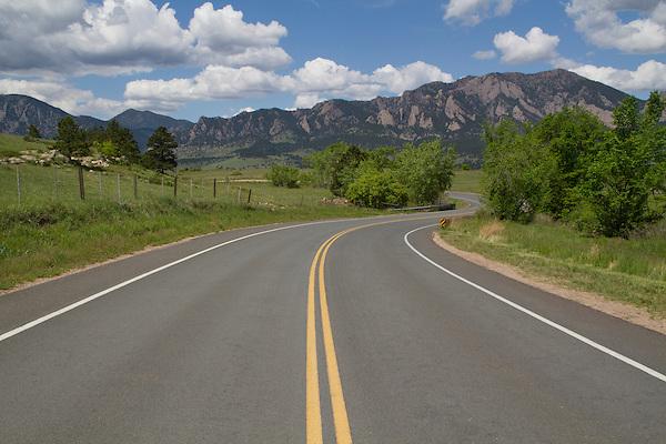 Rural, mountain road in Boulder, Colorado