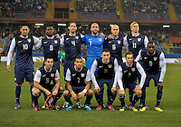 GENOVA, ITALY - February 29, 2012: USA starting 11 before the USA friendly match against Italy at the Stadium Luigi Ferraris in Genova, Italy.