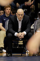 STATE COLLEGE, PA - FEBRUARY 16: Head coach Cael Sanderson of the Penn State Nittany Lions watches during a match against of the Oklahoma State Cowboys on February 16, 2014 at Rec Hall on the campus of Penn State University in State College, Pennsylvania. Penn State won 23-12. (Photo by Hunter Martin/Getty Images) *** Local Caption *** Cael Sanderson