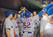 New York Mets center fielder Yoenis Cespedes (52) celebrates in the dugout with his teammates after scoring his team's second run in the fifth inning against the Washington Nationals at Nationals Park in Washington, D.C. on Tuesday, September 13, 2016.<br /> Credit: Ron Sachs / CNP<br /> (RESTRICTION: NO New York or New Jersey Newspapers or newspapers within a 75 mile radius of New York City)
