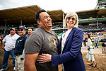 MAY 27: Carla Gaines hugs assistant trainer Miguel Delgado after long shot Bolo pulls off the upset in the Shoemaker Mile at Santa Anita Park in Arcadia, California on May 27, 2019. Evers/Eclipse Sportswire/CSM